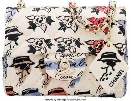 16007: Chanel Light Pink Floral Fabric Mini Square Clas