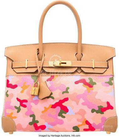 16008: Hermès 30cm Customized Pink Camouflage Na