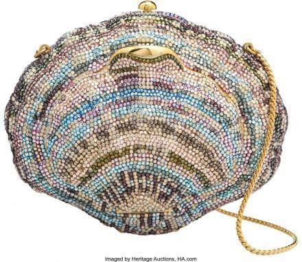 16009: Judith Leiber Crystal Venus Clamshell Minaudiere