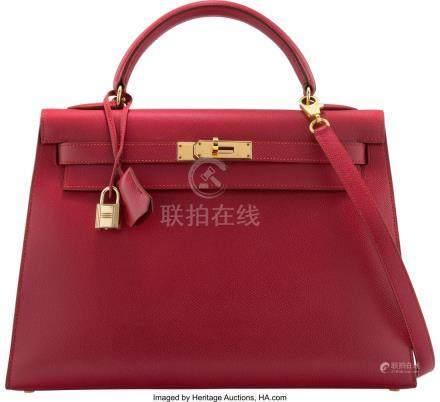 16013: Hermès 32cm Rouge Vif Courchevel Leather
