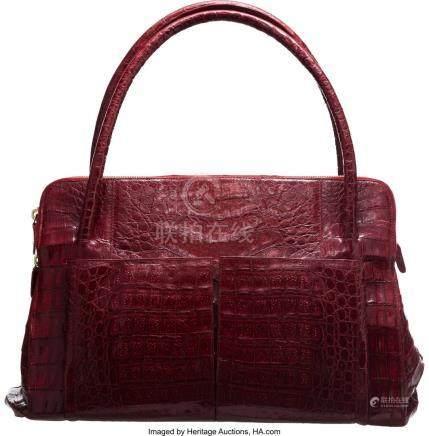 16015: Nancy Gonzalez Red Crocodile Shoulder Bag Condit