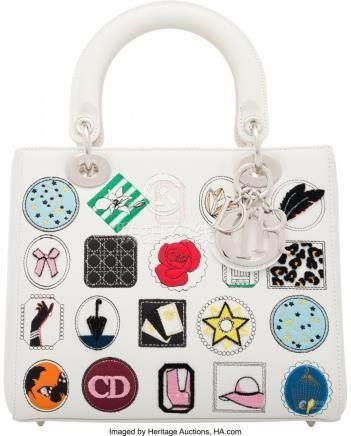 16018: Christian Dior White Leather Multicolor Embroide