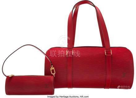 16023: Louis Vuitton Red Epi Leather Papillon 30 Bag Co
