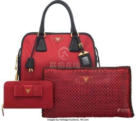16024: Prada Set of Three: Red Top Handle Bag, Clutch &