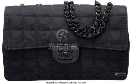 16029: Chanel Black Quilted Grosgrain Medium Classic Fl