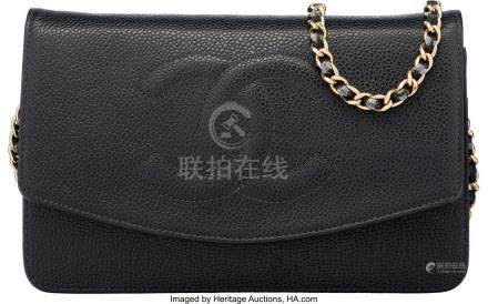 16030: Chanel Black Caviar Leather Timeless Wallet on C