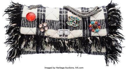 16031: Chanel Black & White Tweed Jumbo Reissue Flap Ba
