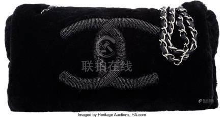 16032: Chanel Black Rabbit Fur Small Flap Bag Condition