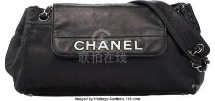 16034: Chanel Black Lambskin Leather Shoulder Bag Condi