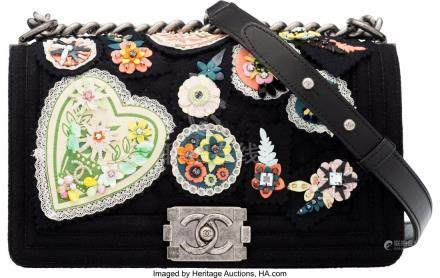 16035: Chanel Black Felt Crest Embellished Medium Boy B