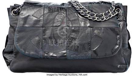 16037: Chanel Black Patent & Lambskin Leather Messenger