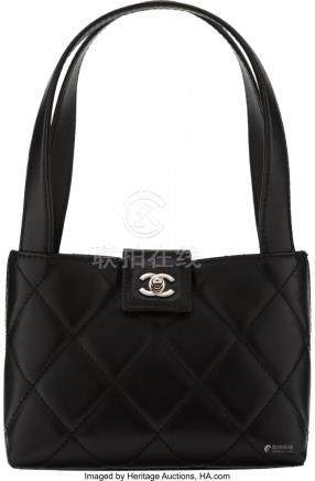 16038: Chanel Black Quilted Lambskin Leather Mini Top H