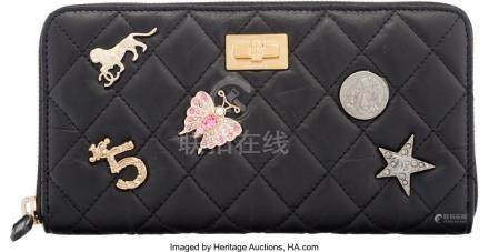 16039: Chanel Black Aged Quilted Calfskin Leather Lucky