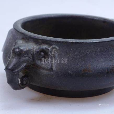 """Chinese bronze censer with elephant figure handles, with seal mark, 5.5"""" across overall"""