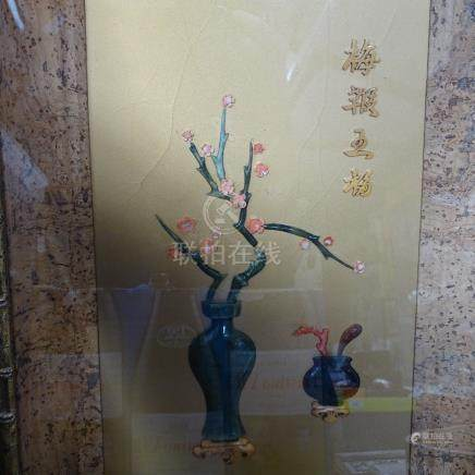 """An Oriental hardstone picture of blossom in faux bamboo frame, height 18.5"""""""