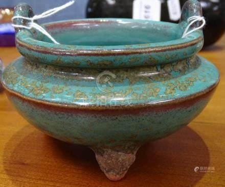 """A Chinese glazed terracotta censer, 4"""" across"""