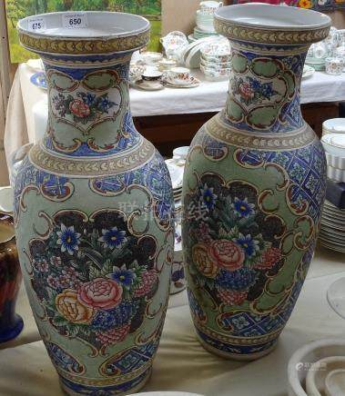 """A pair of Oriental baluster vases, 24.5"""""""