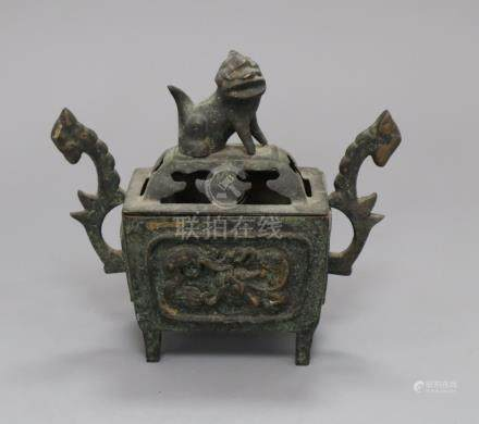 A Chinese Archaistic rectangular bronze censer cover, and stand, 19th/20th century, H.16cm