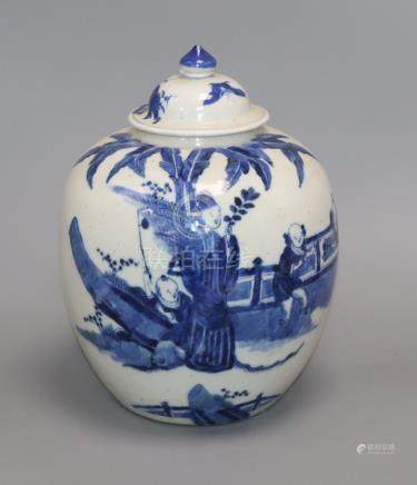 A Chinese blue and white figural jar and cover, Kangxi mark, Qing dynasty height 27cm