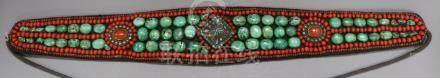 A Tibetan belt mounted with semi-precious stones