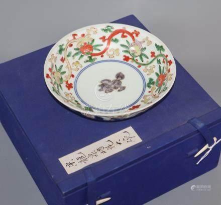 An Oriental Tianqi marked Wucai / Arita bowl, a qilin in the central medallion diameter 16cm
