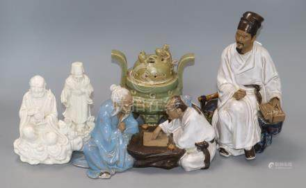 Chinese ceramics, including two blanc de chine figures, two modern terracotta groups and an
