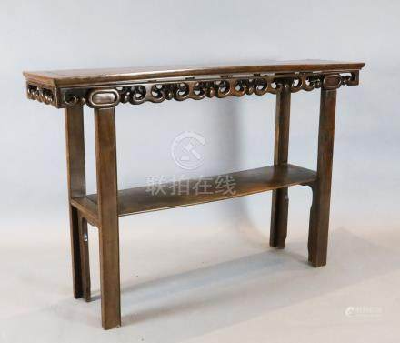 A Chinese hongmu altar table, with scroll frieze and understage, W. 5ft. D.1ft. 3in. H.3ft 3.5in.