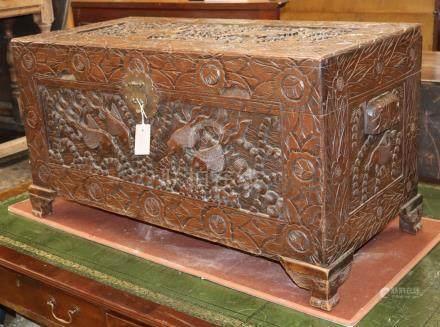 A Cantonese camphorwood chest W.94cm