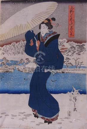 UKIYO-E / Japon - D'après HIROSHIGE Femme...