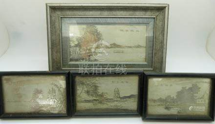 Four Chinese engraved white metal pictures of lake scenes, largest 7x15cm