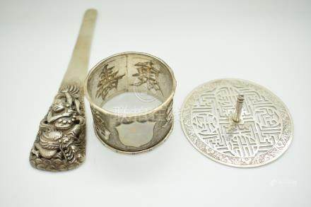 Chinese white metal napkin ring with Chinese character mark decoration and maker's mark CH,