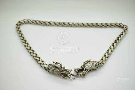 Chinese white metal necklace with dragon head decoration, length 68cm