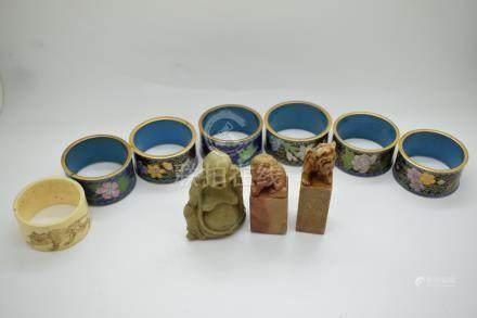 Six Chinese cloisonné napkin rings, soapstone sealwith Buddaha finial, engraved Japanese napkin