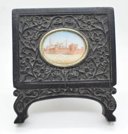 19thC Indian miniature watercolour in carved easel backed ebony frame, image 3 x 4cm, frame 9.5 x