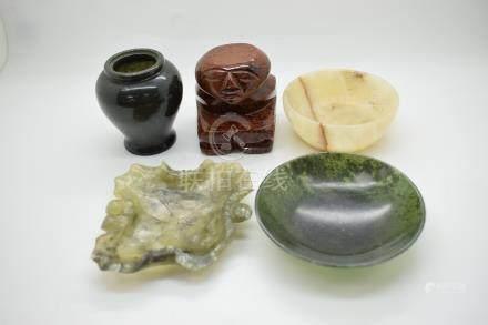 Hardstone dish, carved hardstone figure, vase and dish etc, largest diameter 9.5cm