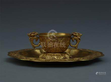 CHINESE GILT BRONZE DRAGON HANDLE PHOENIX CUP WITH DISH