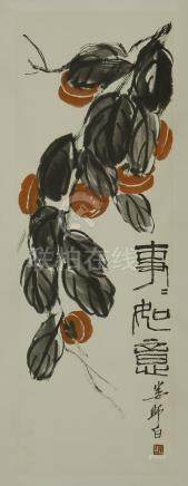 CHINESE SCROLL PAINTING OF PERSIMMON