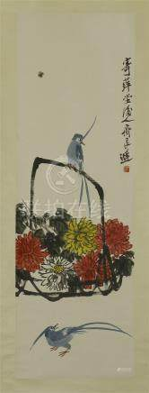 CHINESE SCROLL PAINTING OF FLOWER IN BASKET AND BIRD