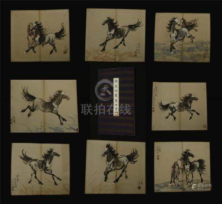 EIGHT PAGES OF CHINESE ALBUM PAINTING OF HORSE