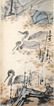 CHINESE SCROLL PAINTING OF DUCK IN RIVER