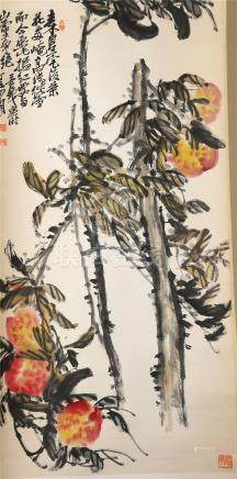 CHINESE SCROLL PAINTING OF PEACH