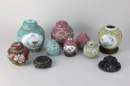 A collection of seven various Chinese porcelain ginger jars and covers decorated with birds,