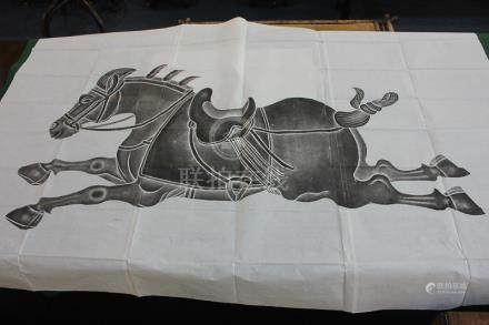 A large unframed Chinese monochrome print of a horse on folded paper, 137cm by 205cm, and another