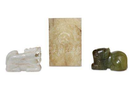 A collection of Chinese jade carvings.