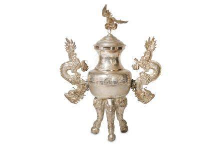 A CHINESE WHITE METAL INCENSE BURNER AND COVER.