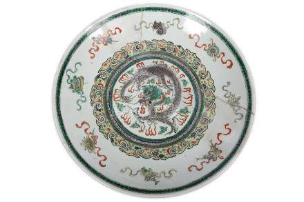 A large Chinese famille verte 'dragon' charger.