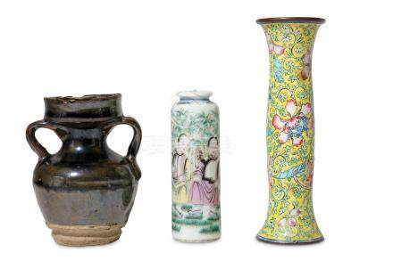 A collection of Chinese items, including a Canton enamel yellow ground flower vase, a famille rose