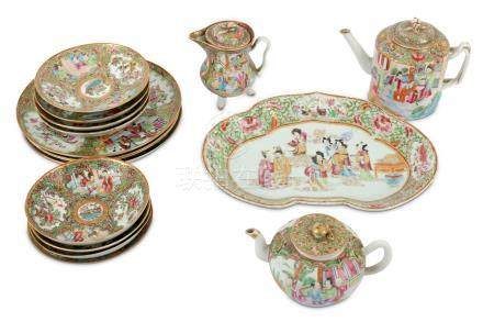 A collection of Chinese famille rose Canton enamel dinner wares, 19th Century, comprising of a lobed