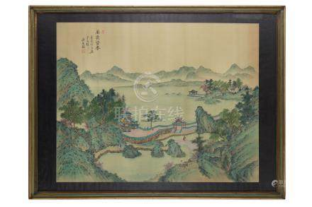 A Chinese green and blue landscape painting, 20th Century, depicting a lively watery landscape