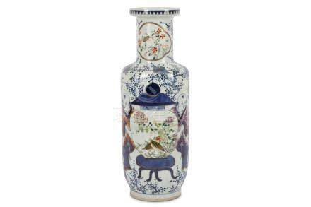 A Chinese enameled blue and white rouleau vase.